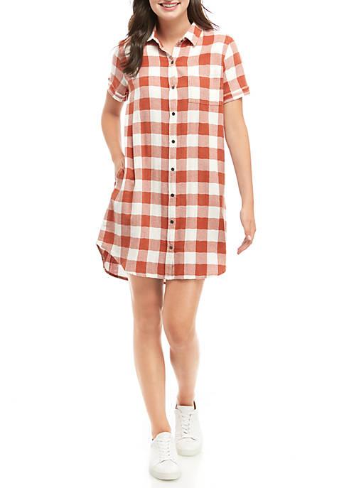 TRUE CRAFT Short Sleeve Button Up Dress
