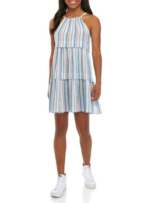 Juniors Sleeveless Halter Dress