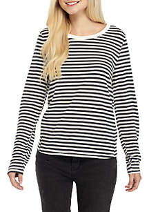 Long Sleeve Crew Neck Stripe Tee