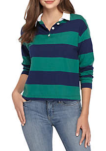 Long Sleeve Crop Rugby Polo