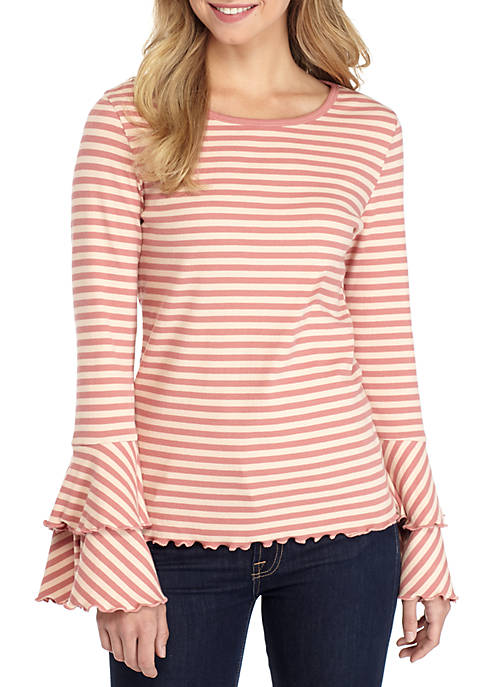 TRUE CRAFT Long Double Flare Sleeve Top
