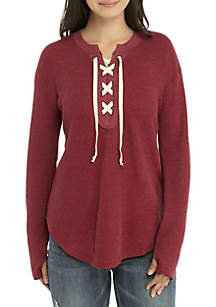 Lace-Up Thermal Shirt