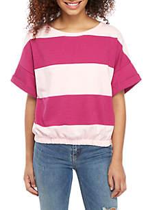 TRUE CRAFT Cinched Stripe Sweatshirt