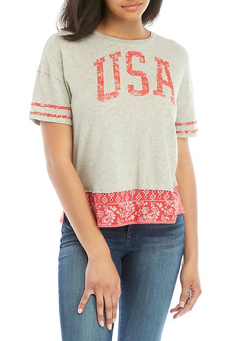 Juniors Boxy Border Graphic T-Shirt