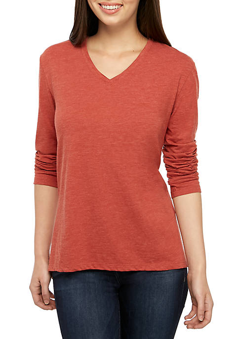 Long Sleeve V Neck T Shirt