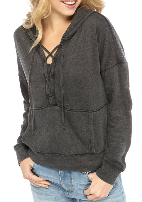 TRUE CRAFT Juniors Lace Up Hoodie Sweatshirt