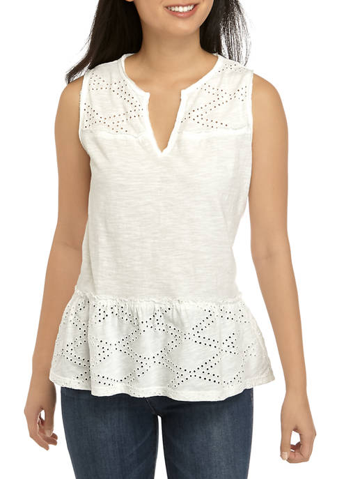 TRUE CRAFT Juniors Eyelet Peplum Tank Top