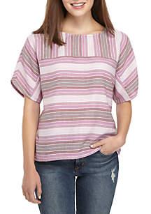 Short Sleeve Metallic Stripe Top