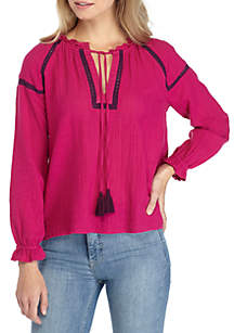 Embroidered Solid Peasant Top