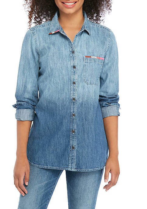 Button Up Embroidery Top