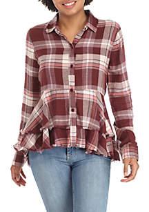 Button Front Peplum Shirt