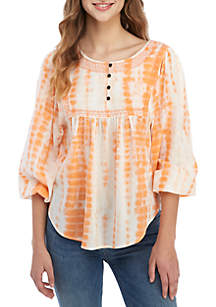 TRUE CRAFT 3/4 Sleeve Tie Dye Smock Top