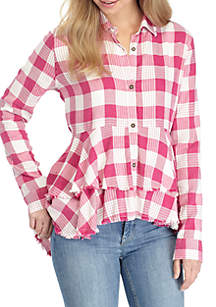 Peplum Button-Up Shirt