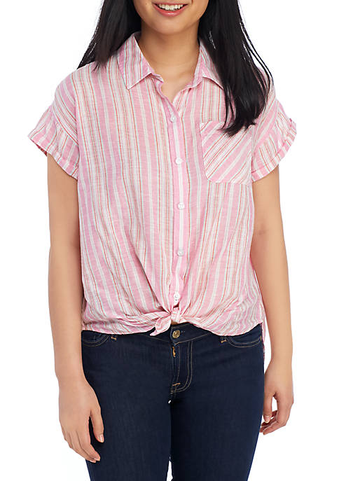 Woven Short Sleeve Tie Front Shirt