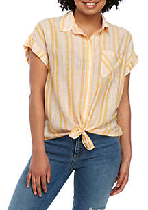 TRUE CRAFT Woven Short Sleeve Tie Front Shirt