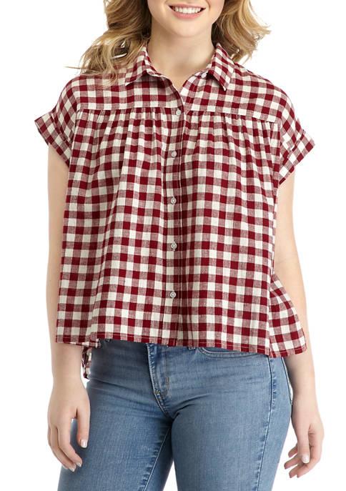 Juniors Dolman Sleeve Button Down Shirt