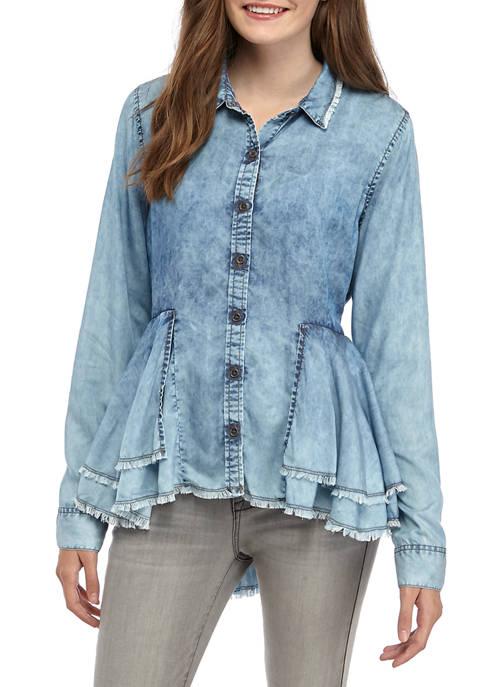 Juniors Vented Button Up Shirt