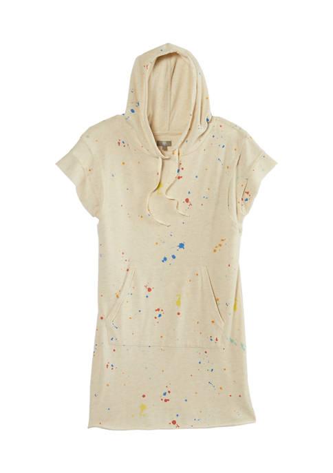Short Sleeve Printed Hoodie Dress