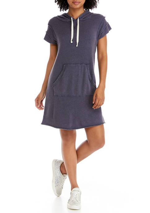 TRUE CRAFT Short Sleeve Printed Hoodie Dress