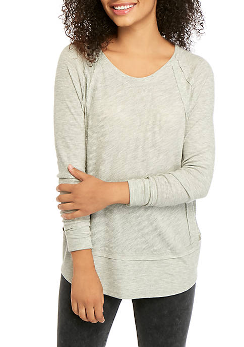 Soft Shop Raw Edge Heather Dolman Sleeve Top