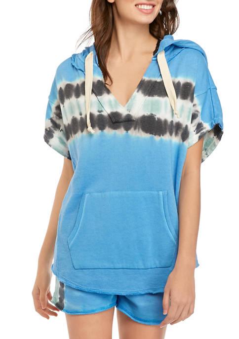 Soft Shop Juniors Short Sleeve Popover Hoodie Sweatshirt
