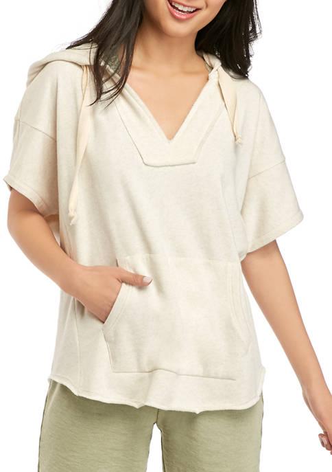 Soft Shop Juniors Short Sleeve Heathered Hoodie Top
