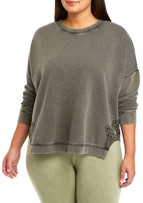 Soft Shop Plus Size Lace Crew Sweatshirt