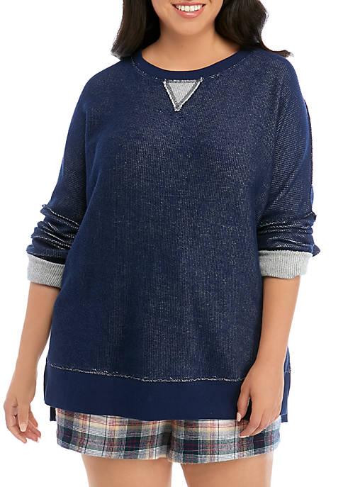 Soft Shop Plus Size Reverse Terry Crew Neck Sweatshirt