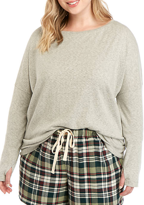 Soft Shop Plus Size Jersey Crew Neck Heathered Top