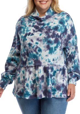 True Craft Womens Plus Size Tie Dye Peplum Pullover