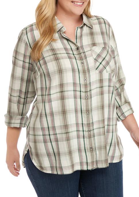 Plus Size Woven Plaid Shirt