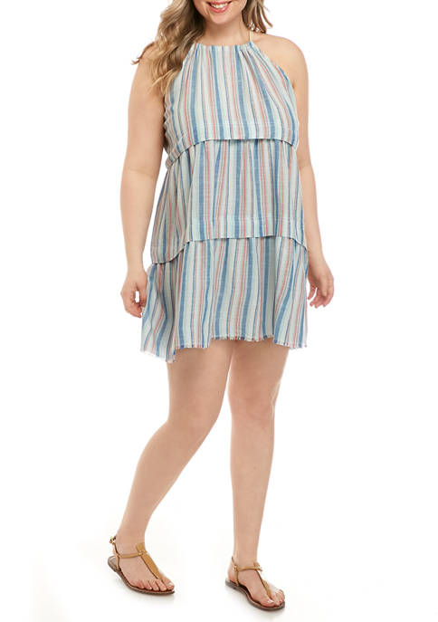 Plus Size Stripe Halter Dress