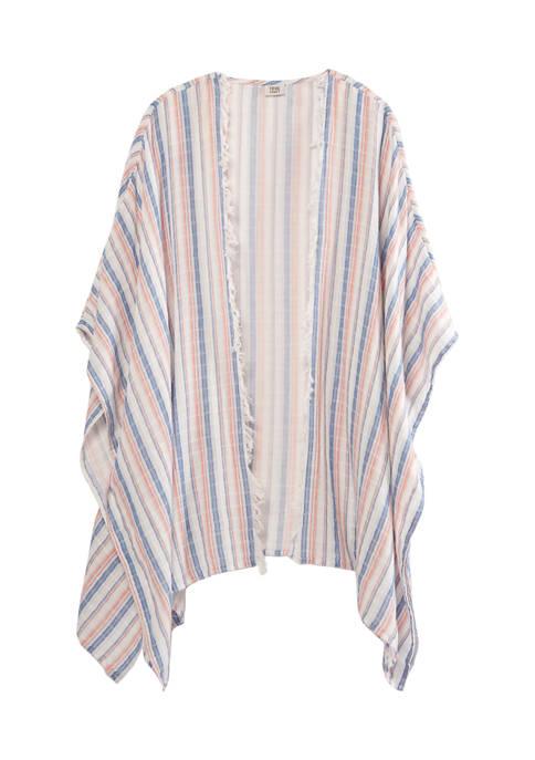 Plus Size Striped Ruana