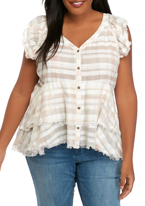 Plus Size Tiered Button Down Top