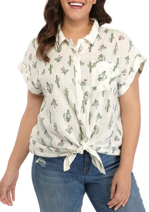 Plus Size Printed Camp Shirt