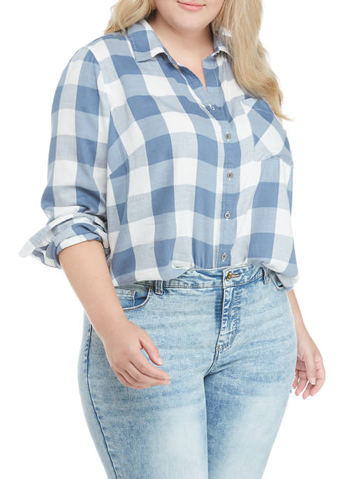 TRUE CRAFT Plus Size Button Up Top