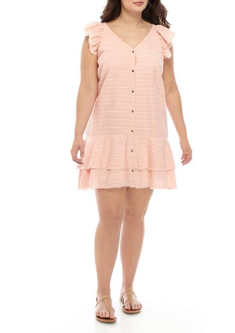 Plus Size Ruffle Sleeve Dress with Crochet Yoke