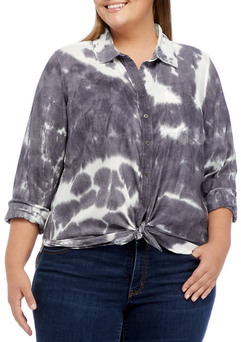 TRUE CRAFT Plus Size Long Sleeve Button Down