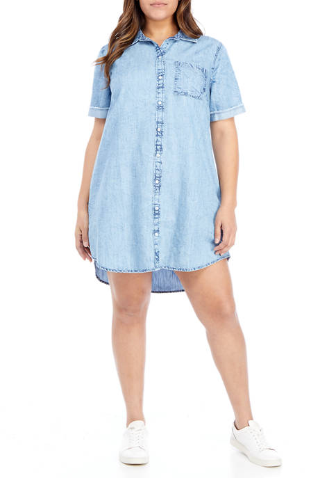 TRUE CRAFT Plus Size Denim Button Up Dress
