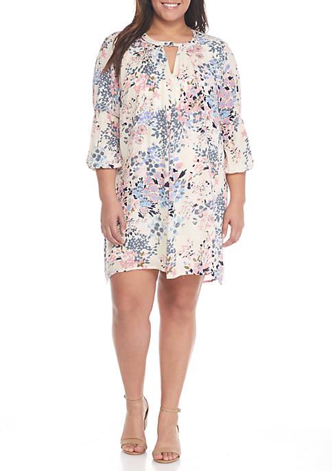 True Craft Plus Size Three Quarter Sleeve V Neck Gigi Dress Belk