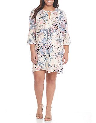 TRUE CRAFT Plus Size- Three-Quarter Sleeve V-neck Gigi Dress