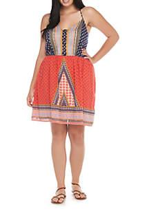Plus Size Lattice Front Dress