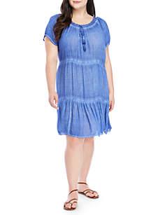 Juniors Plus Size Crochet Neck Dress