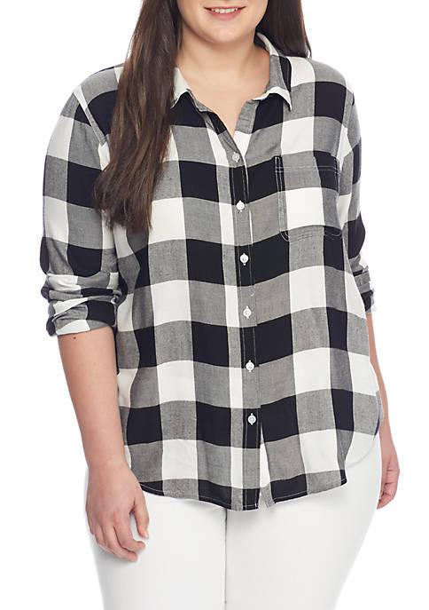True Craft Plus Size Buffalo Plaid Shirt Belk