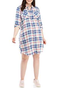TRUE CRAFT Plus Size Plaid Button Down Dress