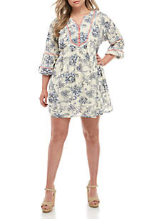 TRUE CRAFT Plus Size Embroidered Dress