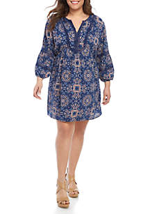cf8e39844cafb ... TRUE CRAFT Plus Size Embroidered Dress