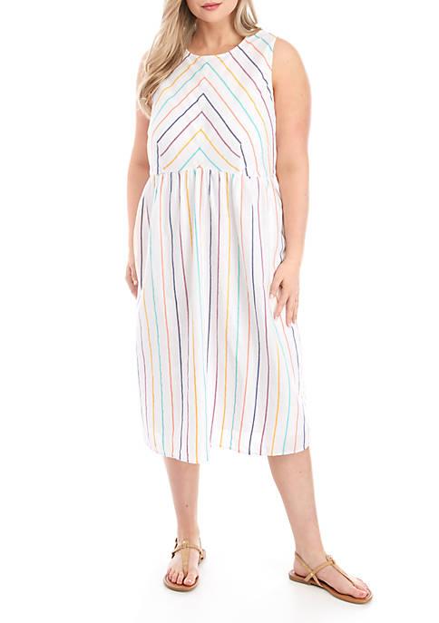 Plus Size Stripe Pocket Dress