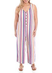 TRUE CRAFT Plus Size Button Up Stripe Jumper