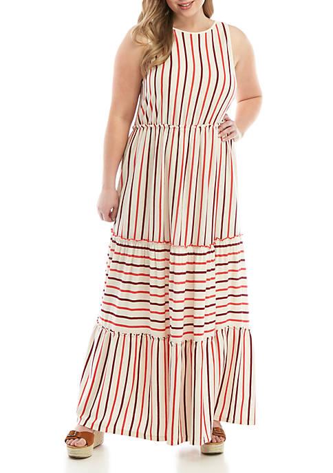 Plus Size Sleeveless Tiered Midi Dress